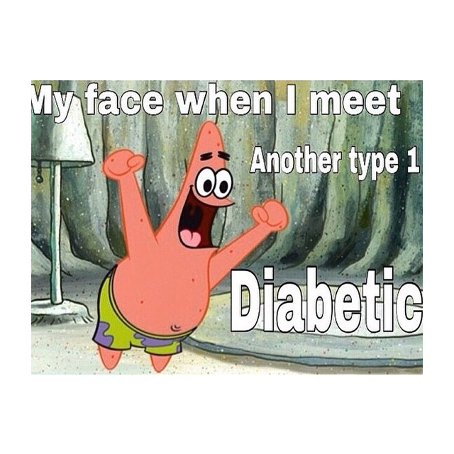 spongebob excited to see another diabetic