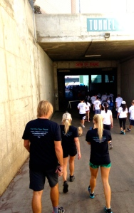 walking the course into the angels stadium