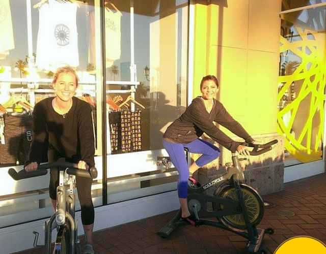 spin class with a friend